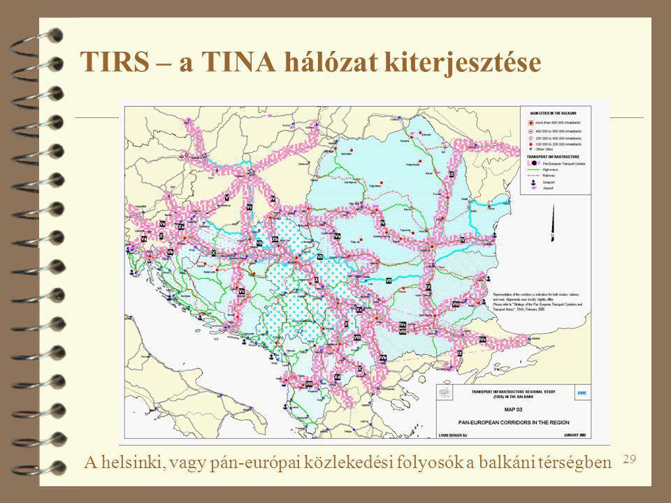 29 A helsinki, vagy pán-európai közlekedési folyosók a balkáni térségben TIRS – a TINA hálózat kiterjesztése