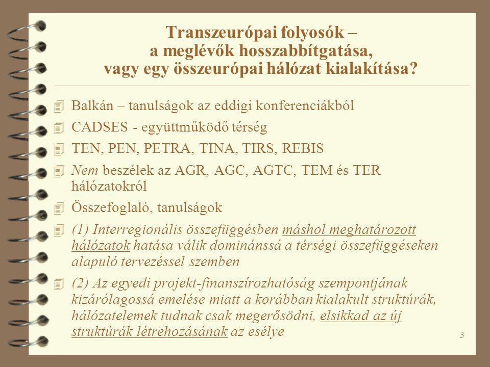 3 Transzeurópai folyosók – a meglévők hosszabbítgatása, vagy egy összeurópai hálózat kialakítása? 4 Balkán – tanulságok az eddigi konferenciákból 4 CA