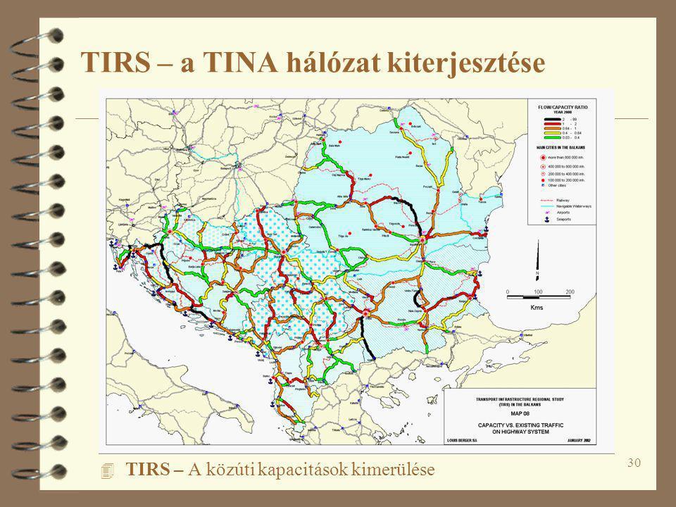 30 4 TIRS – A közúti kapacitások kimerülése TIRS – a TINA hálózat kiterjesztése