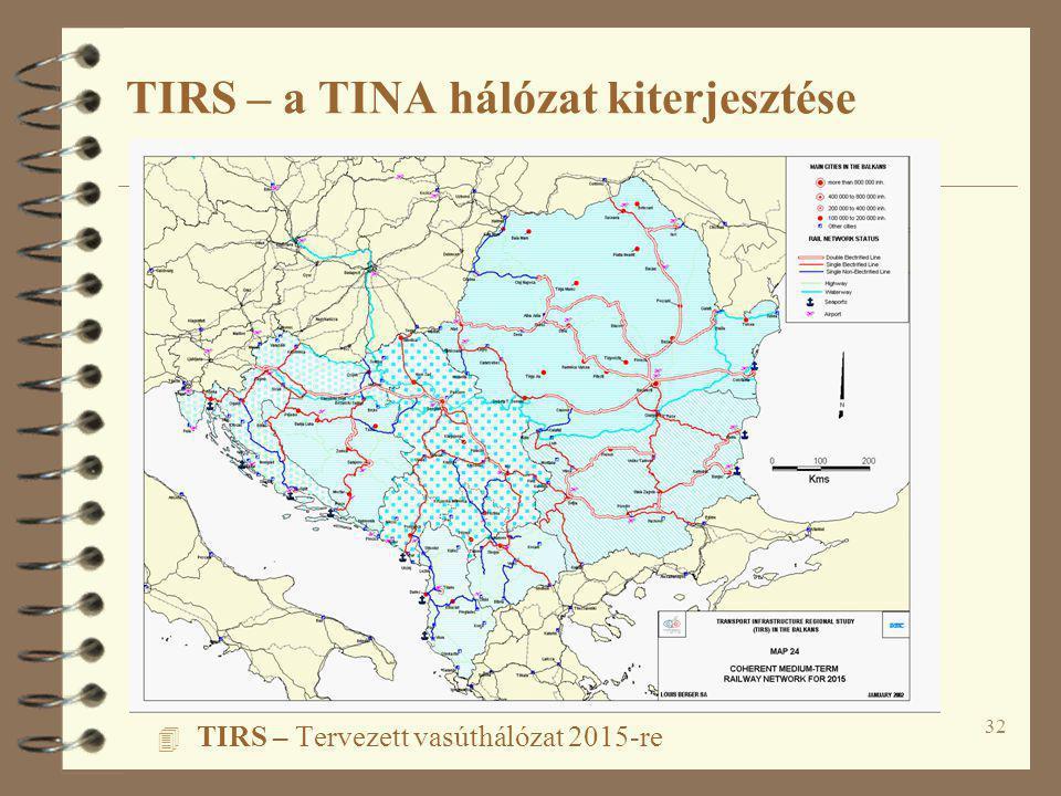 32 4 TIRS – Tervezett vasúthálózat 2015-re TIRS – a TINA hálózat kiterjesztése