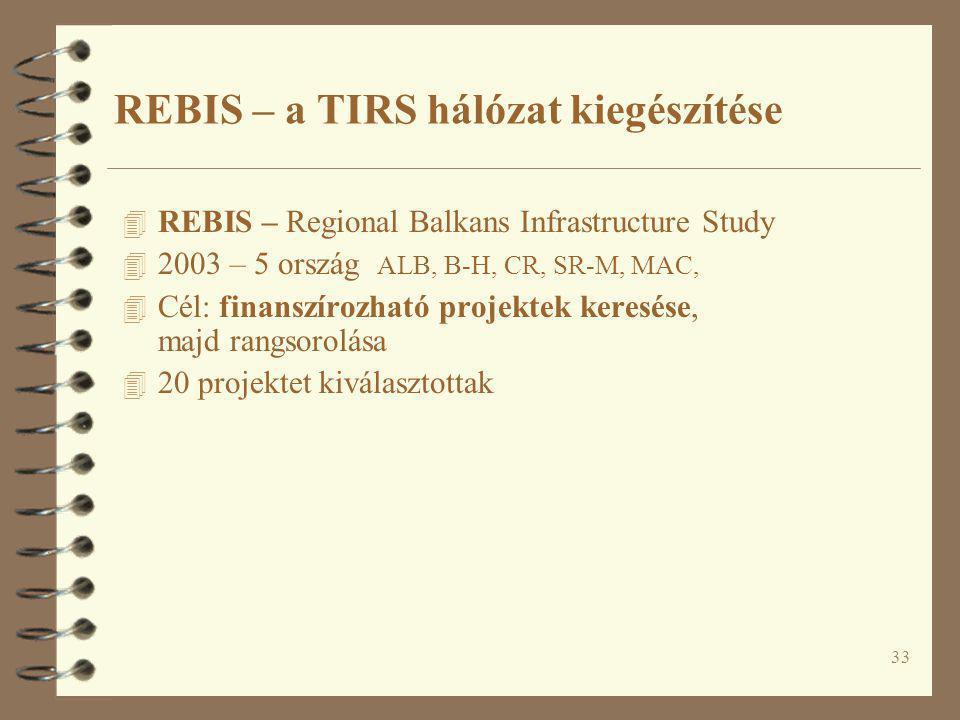 33 4 REBIS – Regional Balkans Infrastructure Study 4 2003 – 5 ország ALB, B-H, CR, SR-M, MAC, 4 Cél: finanszírozható projektek keresése, majd rangsoro