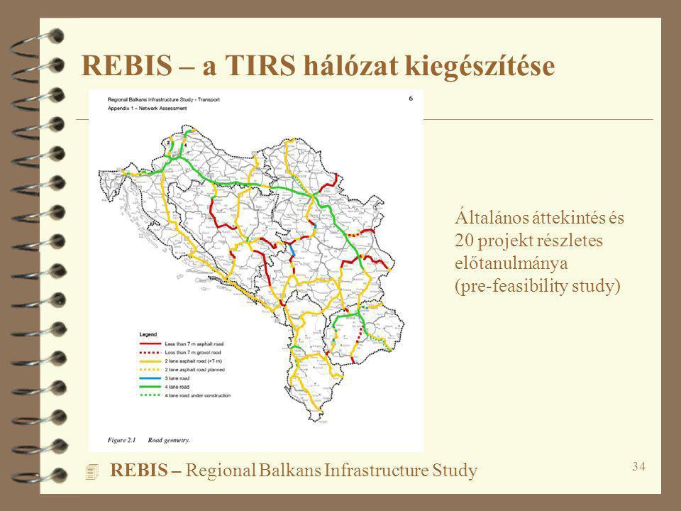 34 4 REBIS – Regional Balkans Infrastructure Study REBIS – a TIRS hálózat kiegészítése Általános áttekintés és 20 projekt részletes előtanulmánya (pre