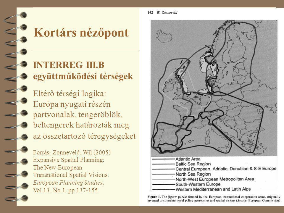 9 INTERREG III.B együttműködési térségek Eltérő térségi logika: Európa nyugati részén partvonalak, tengeröblök, beltengerek határozták meg az összetar