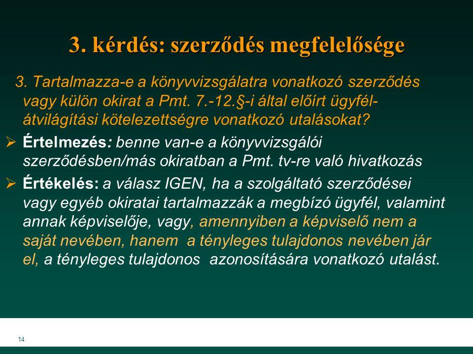 14 3. kérdés: szerződés megfelelősége 3. Tartalmazza-e a könyvvizsgálatra vonatkozó szerződés vagy külön okirat a Pmt. 7.-12.§-i által előírt ügyfél-
