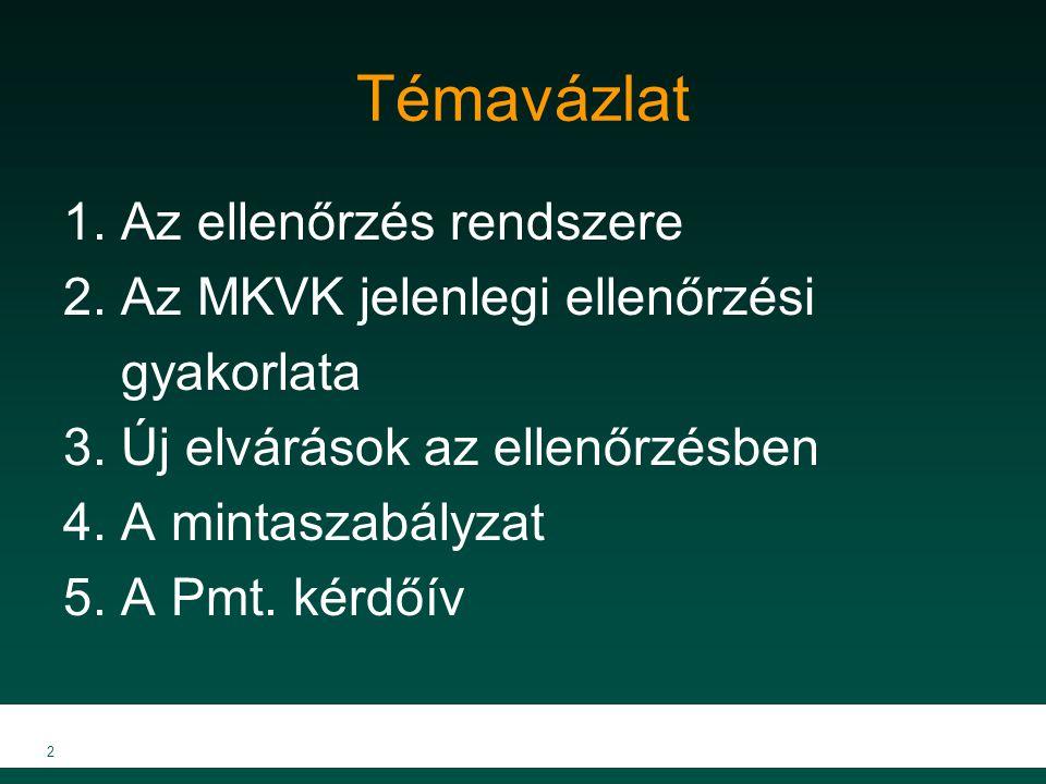 Témavázlat 1. Az ellenőrzés rendszere 2. Az MKVK jelenlegi ellenőrzési gyakorlata 3. Új elvárások az ellenőrzésben 4. A mintaszabályzat 5. A Pmt. kérd