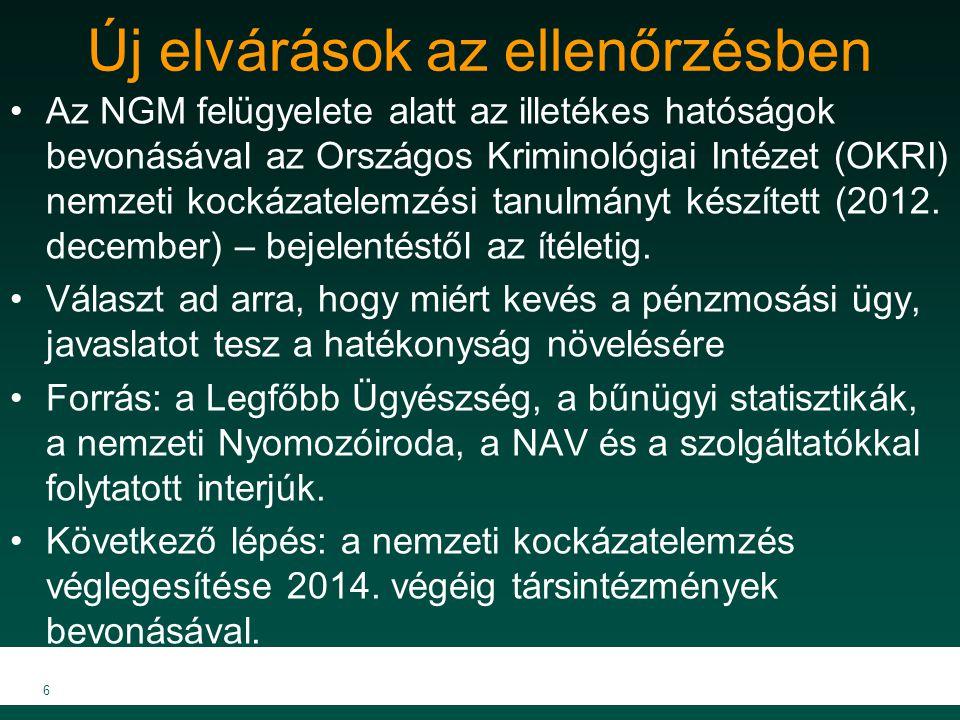 Munkacsoportok kialakítása Két munkacsoport felállítása történik: 1.a bűnüldöző szervek képviselői (FIU, NAV, mint nyomozóhatóság; KIM; BM - ORFK, TEK;LÜ; OBH), illetve a 2.felügyeletet ellátó szervek felügyeleti tapasztalattal rendelkező szakértői részvételével (MKVK) Mindkét munkacsoportban közreműködik az NGM képviselője.