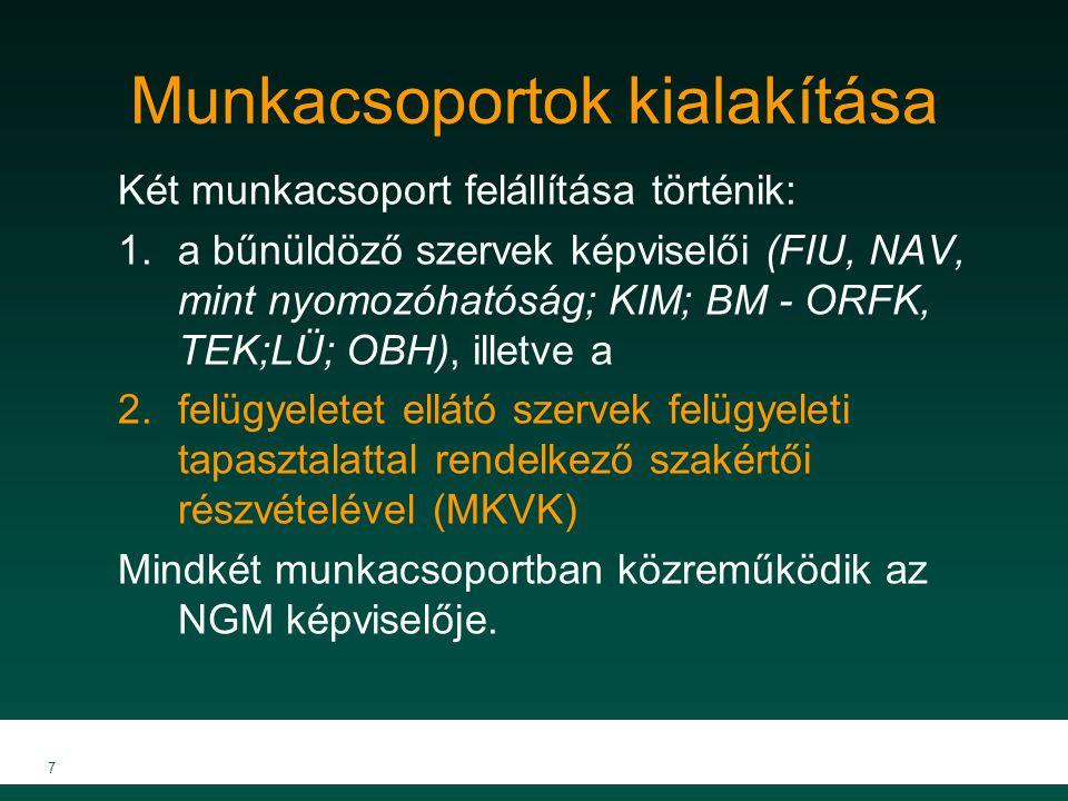 Munkacsoportok kialakítása Két munkacsoport felállítása történik: 1.a bűnüldöző szervek képviselői (FIU, NAV, mint nyomozóhatóság; KIM; BM - ORFK, TEK