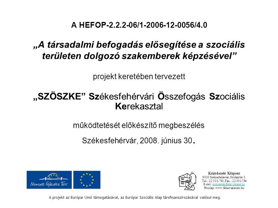 """A HEFOP-2.2.2-06/1-2006-12-0056/4.0 """"A társadalmi befogadás elősegítése a szociális területen dolgozó szakemberek képzésével projekt keretében tervezett """"SZÖSZKE Székesfehérvári Összefogás Szociális Kerekasztal működtetését előkészítő megbeszélés Székesfehérvár, 2008."""