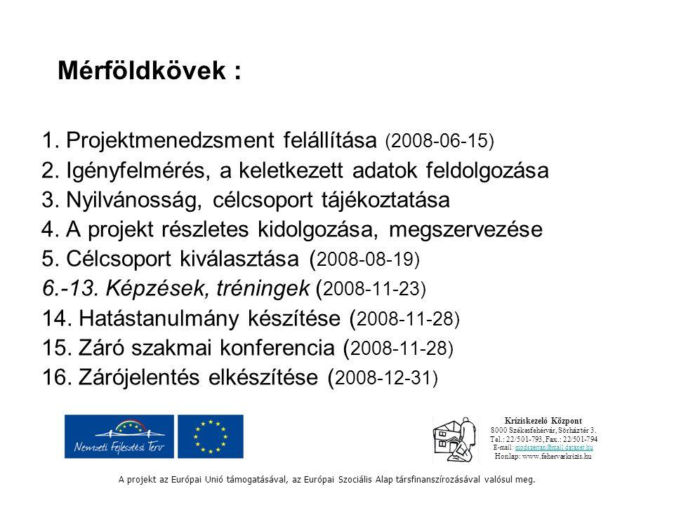 Mérföldkövek : 1. Projektmenedzsment felállítása (2008-06-15) 2.