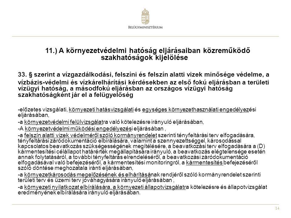 14 11.) A környezetvédelmi hatóság eljárásaiban közreműködő szakhatóságok kijelölése 33.