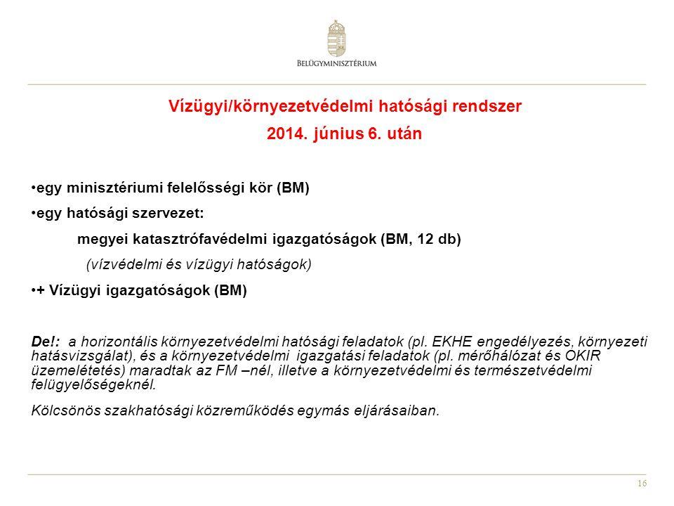 16 Vízügyi/környezetvédelmi hatósági rendszer 2014. június 6. után egy minisztériumi felelősségi kör (BM) egy hatósági szervezet: megyei katasztrófavé