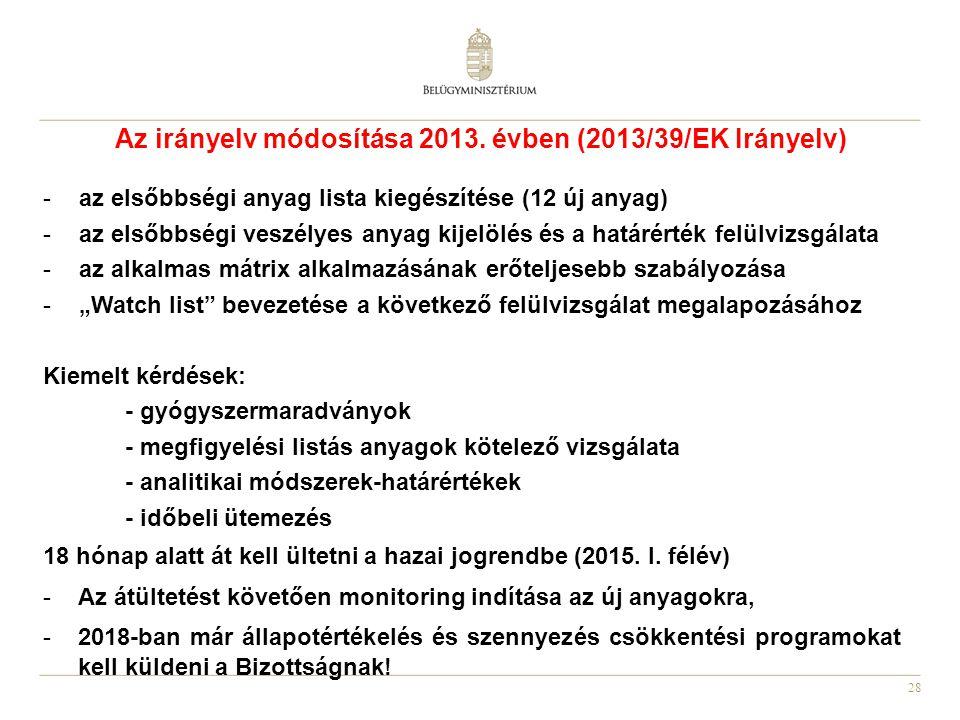 28 Az irányelv módosítása 2013. évben (2013/39/EK Irányelv) -az elsőbbségi anyag lista kiegészítése (12 új anyag) -az elsőbbségi veszélyes anyag kijel