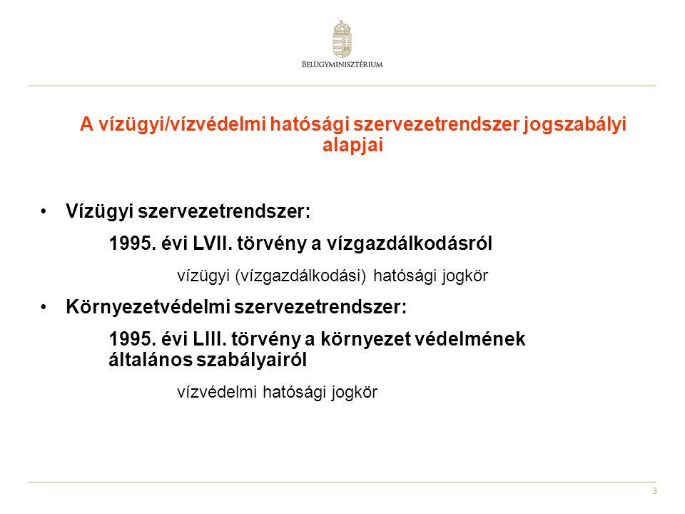 3 Vízügyi szervezetrendszer: 1995.évi LVII.