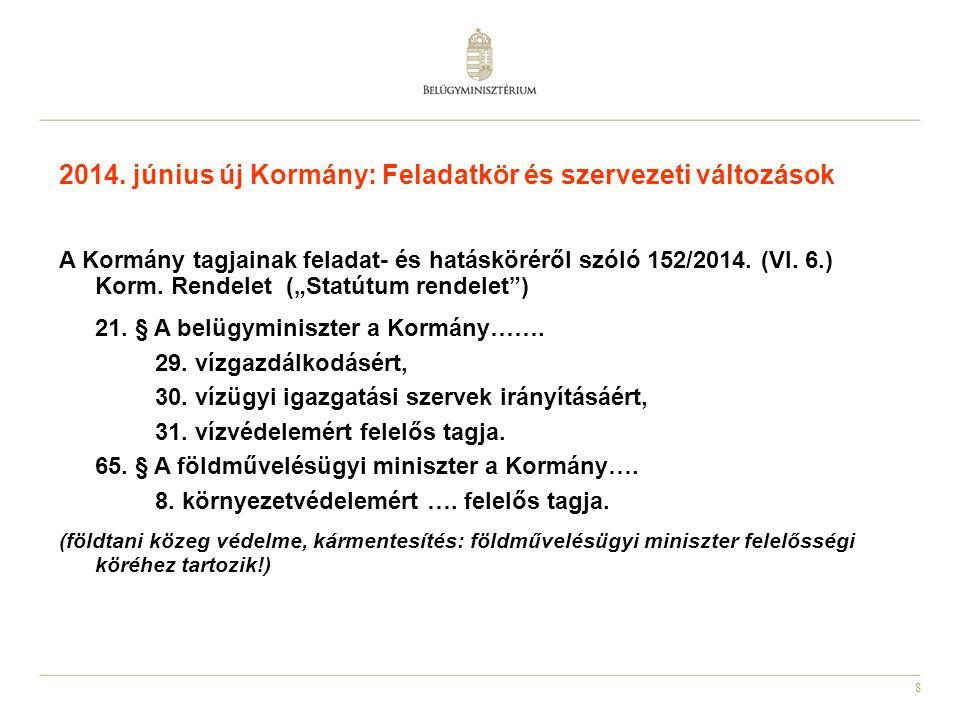 """8 2014. június új Kormány: Feladatkör és szervezeti változások A Kormány tagjainak feladat- és hatásköréről szóló 152/2014. (VI. 6.) Korm. Rendelet ("""""""