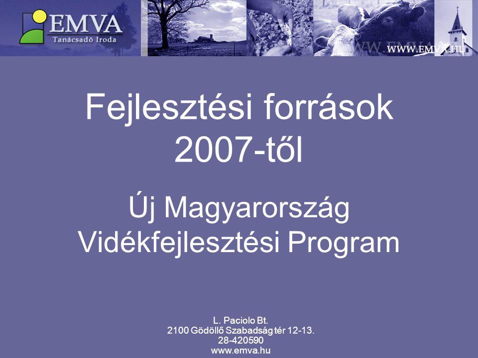 Fejlesztési források 2007-től Új Magyarország Vidékfejlesztési Program L. Paciolo Bt. 2100 Gödöllő Szabadság tér 12-13. 28-420590 www.emva.hu