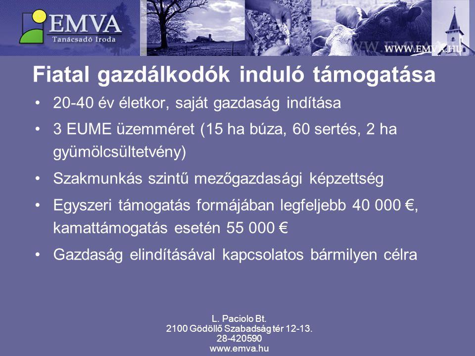 Fiatal gazdálkodók induló támogatása 20-40 év életkor, saját gazdaság indítása 3 EUME üzemméret (15 ha búza, 60 sertés, 2 ha gyümölcsültetvény) Szakmunkás szintű mezőgazdasági képzettség Egyszeri támogatás formájában legfeljebb 40 000 €, kamattámogatás esetén 55 000 € Gazdaság elindításával kapcsolatos bármilyen célra L.
