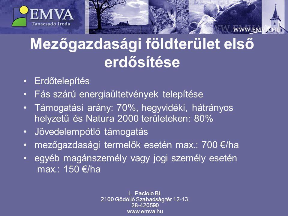 Mezőgazdasági földterület első erdősítése L. Paciolo Bt. 2100 Gödöllő Szabadság tér 12-13. 28-420590 www.emva.hu Erdőtelepítés Fás szárú energiaültetv