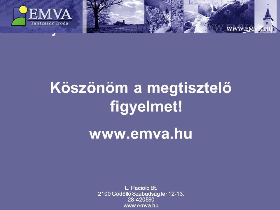 Fejlesztési források 2007-től Köszönöm a megtisztelő figyelmet! www.emva.hu L. Paciolo Bt. 2100 Gödöllő Szabadság tér 12-13. 28-420590 www.emva.hu