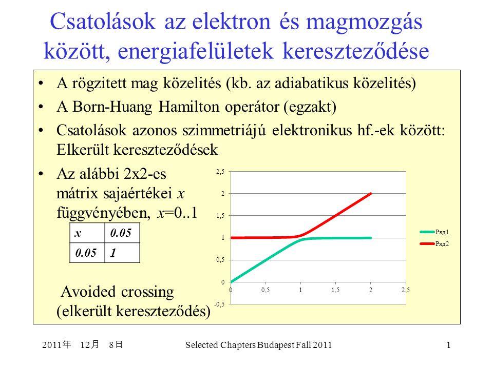 Kónikus (kúpos) kereszteződések (Conical Intersections) Kétatomos molekuláknál a potenciálgörbék metszésének a feltétele az, hogy H 11 =H 22 és H 12 =H 21 =0.