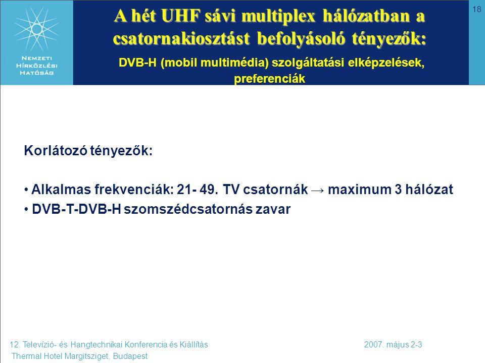 18 A hét UHF sávi multiplex hálózatban a csatornakiosztást befolyásoló tényezők: A hét UHF sávi multiplex hálózatban a csatornakiosztást befolyásoló t