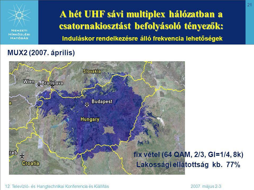 21 A hét UHF sávi multiplex hálózatban a csatornakiosztást befolyásoló tényezők: A hét UHF sávi multiplex hálózatban a csatornakiosztást befolyásoló t