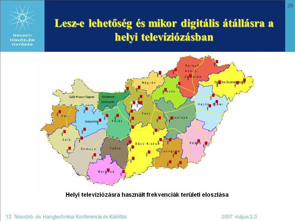 29 Lesz-e lehetőség és mikor digitális átállásra a helyi televíziózásban 12. Televízió- és Hangtechnikai Konferencia és Kiállítás 2007. május 2-3