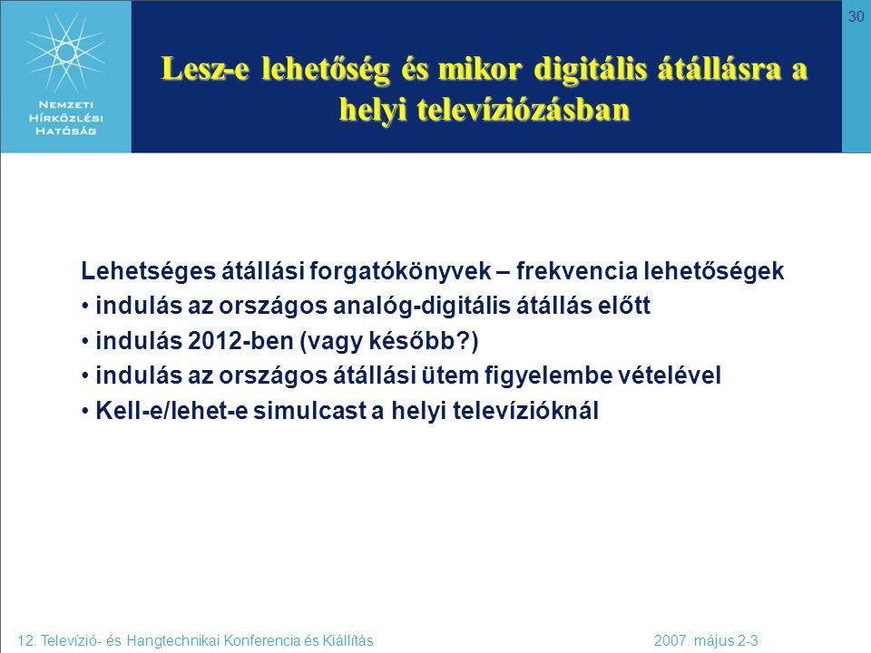30 Lesz-e lehetőség és mikor digitális átállásra a helyi televíziózásban 12. Televízió- és Hangtechnikai Konferencia és Kiállítás 2007. május 2-3 Lehe