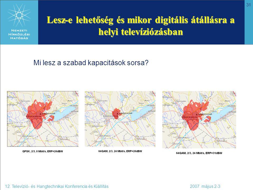 31 Lesz-e lehetőség és mikor digitális átállásra a helyi televíziózásban 12. Televízió- és Hangtechnikai Konferencia és Kiállítás 2007. május 2-3 Mi l