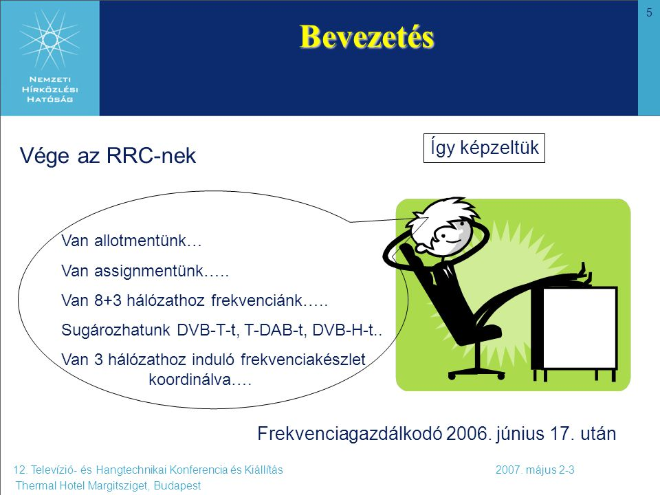 5 12. Televízió- és Hangtechnikai Konferencia és Kiállítás 2007. május 2-3 Thermal Hotel Margitsziget, Budapest Bevezetés Vége az RRC-nek Frekvenciaga