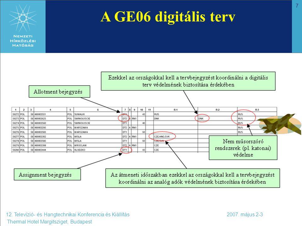 7 12. Televízió- és Hangtechnikai Konferencia és Kiállítás 2007. május 2-3 Thermal Hotel Margitsziget, Budapest A GE06 digitális terv