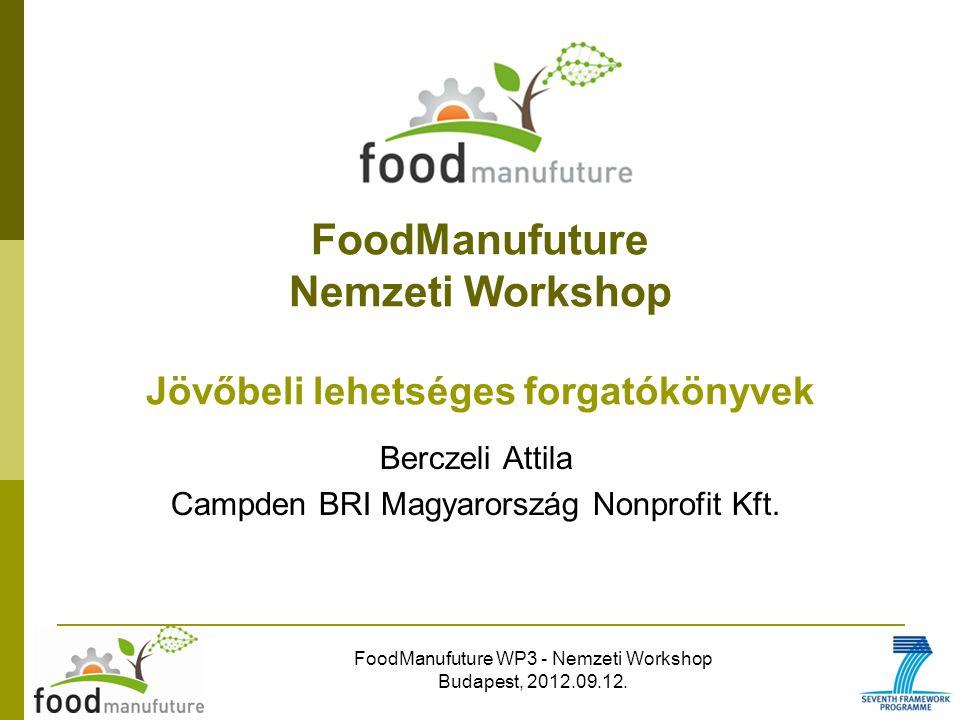 FoodManufuture WP3 - Nemzeti Workshop Budapest, 2012.09.12. FoodManufuture Nemzeti Workshop Jövőbeli lehetséges forgatókönyvek Berczeli Attila Campden