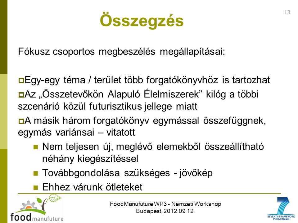 FoodManufuture WP3 - Nemzeti Workshop Budapest, 2012.09.12. Fókusz csoportos megbeszélés megállapításai:  Egy-egy téma / terület több forgatókönyvhöz