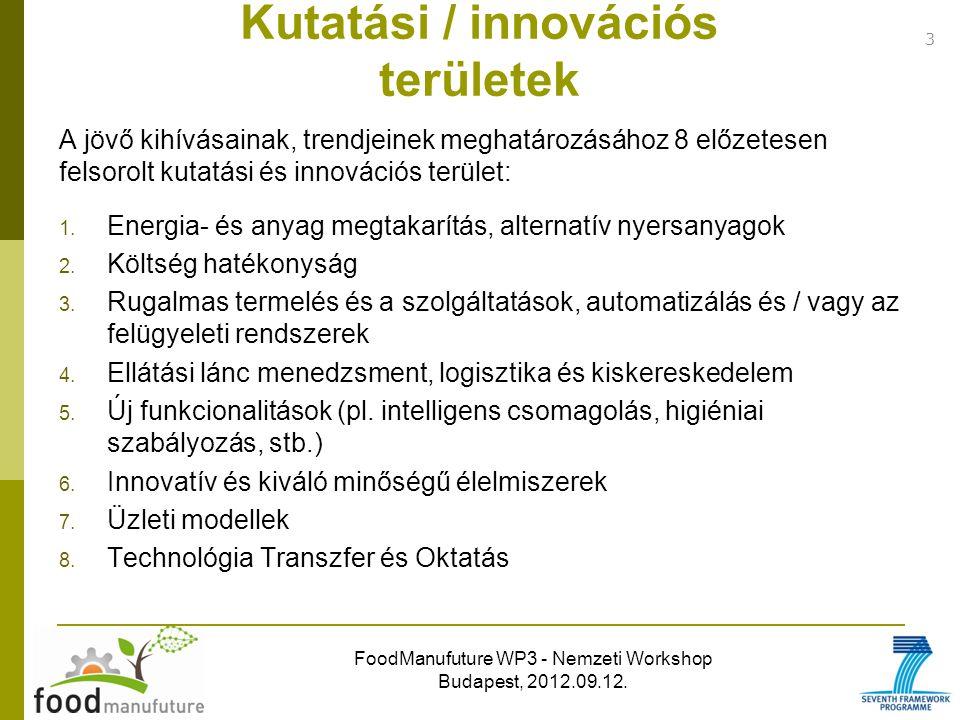 FoodManufuture WP3 - Nemzeti Workshop Budapest, 2012.09.12. A jövő kihívásainak, trendjeinek meghatározásához 8 előzetesen felsorolt kutatási és innov