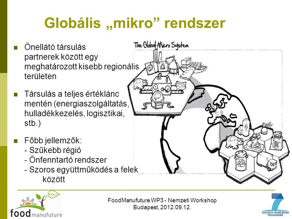 """FoodManufuture WP3 - Nemzeti Workshop Budapest, 2012.09.12. Globális """"mikro"""" rendszer Önellátó társulás partnerek között egy meghatározott kisebb regi"""