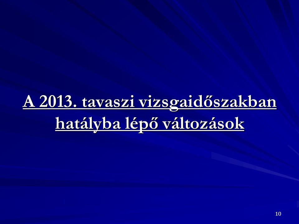 A 2013. tavaszi vizsgaidőszakban hatályba lépő változások 10