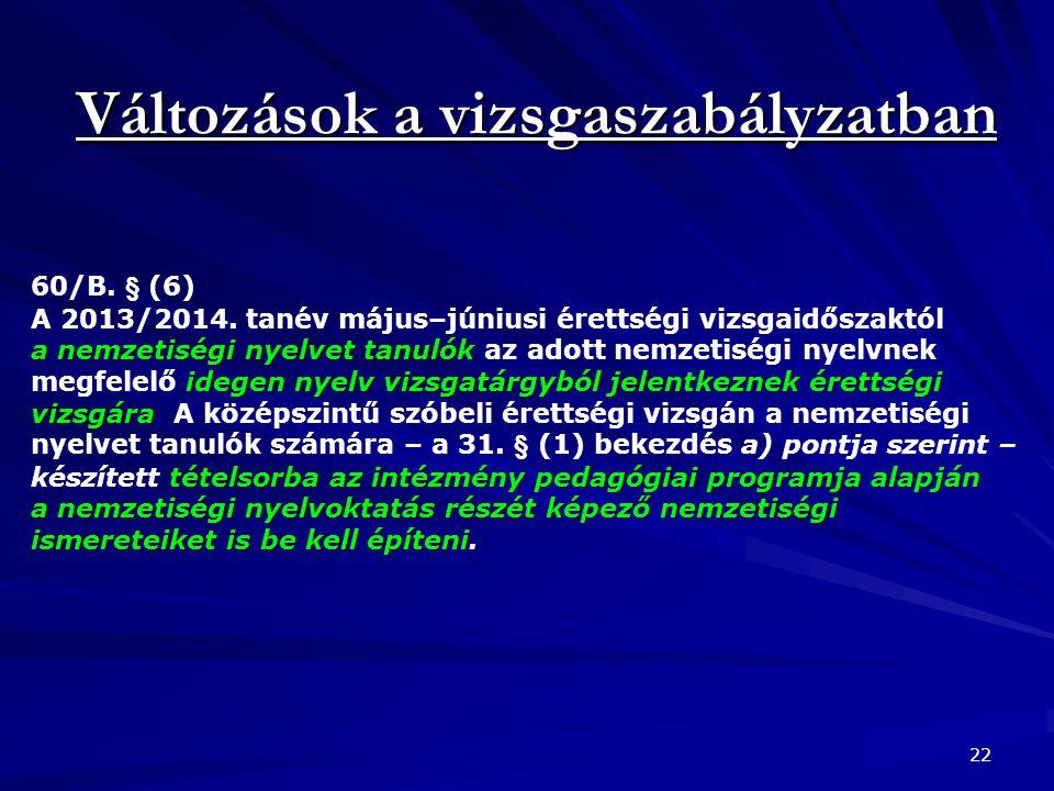 Változások a vizsgaszabályzatban 22 60/B. § (6) a nemzetiségi nyelvet tanulók idegen nyelv vizsgatárgyból jelentkeznek érettségi vizsgára tételsorba a
