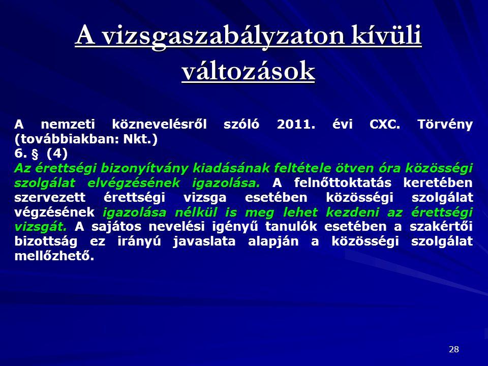 A vizsgaszabályzaton kívüli változások 28 A nemzeti köznevelésről szóló 2011. évi CXC. Törvény (továbbiakban: Nkt.) 6. § (4) Az érettségi bizonyítvány