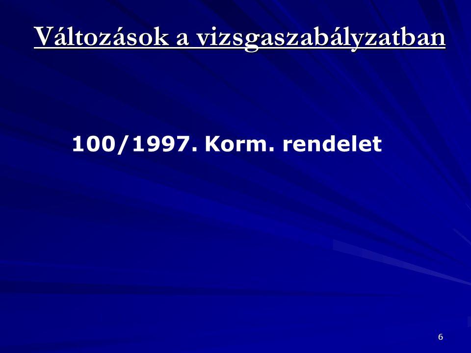 Változások a vizsgaszabályzatban 6 100/1997. Korm. rendelet