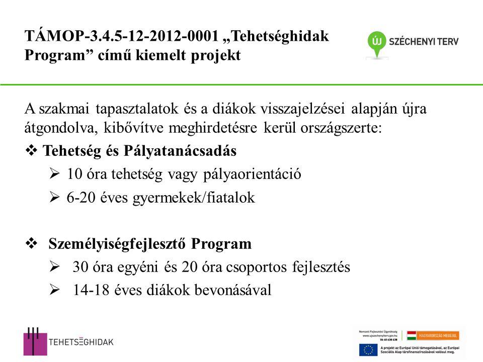 """A szakmai tapasztalatok és a diákok visszajelzései alapján újra átgondolva, kibővítve meghirdetésre kerül országszerte:  Tehetség és Pályatanácsadás  10 óra tehetség vagy pályaorientáció  6-20 éves gyermekek/fiatalok  Személyiségfejlesztő Program  30 óra egyéni és 20 óra csoportos fejlesztés  14-18 éves diákok bevonásával TÁMOP-3.4.5-12-2012-0001 """"Tehetséghidak Program című kiemelt projekt"""