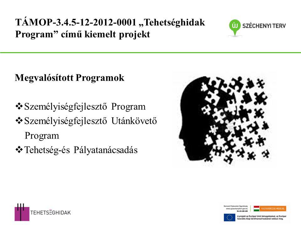 """Megvalósított Programok  Személyiségfejlesztő Program  Személyiségfejlesztő Utánkövető Program  Tehetség-és Pályatanácsadás TÁMOP-3.4.5-12-2012-0001 """"Tehetséghidak Program című kiemelt projekt"""