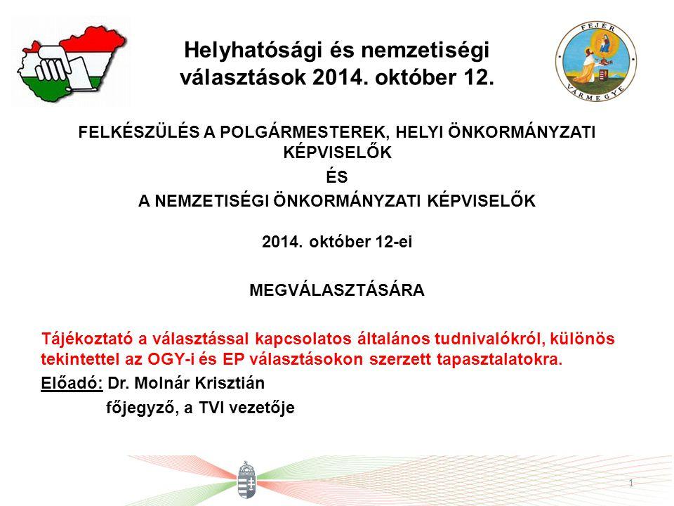 Helyhatósági és nemzetiségi választások 2014.október 12.