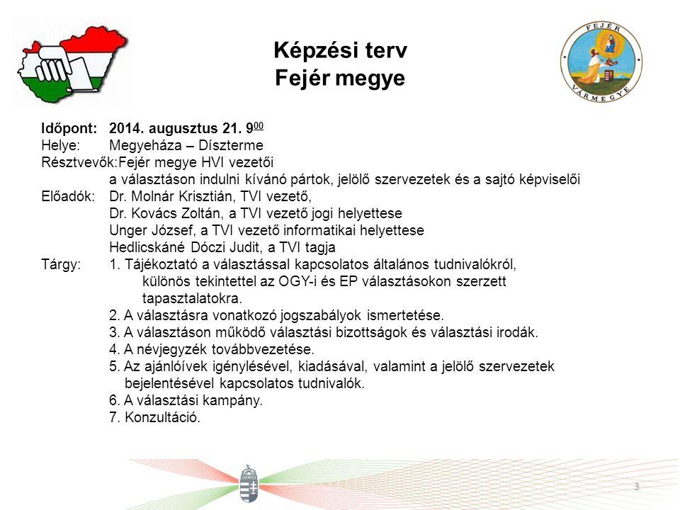 Képzési terv Fejér megye Időpont: 2014. augusztus 21.