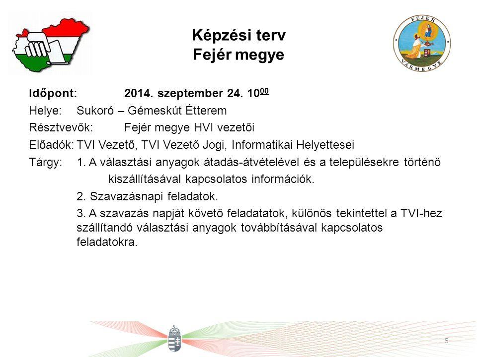 Képzési terv Fejér megye Időpont: 2014. szeptember 24.