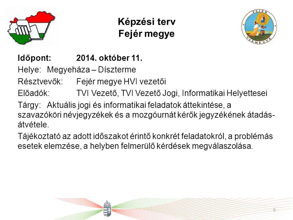 Képzési terv Fejér megye Időpont: 2014. október 11.