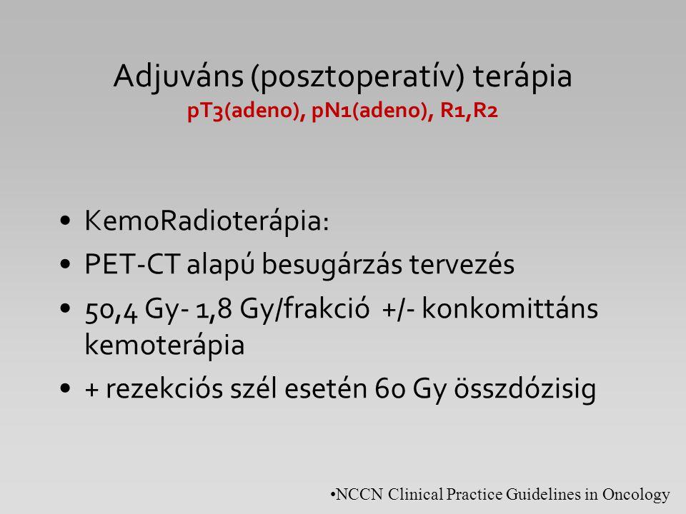 Adjuváns (posztoperatív) terápia pT3(adeno), pN1(adeno), R1,R2 KemoRadioterápia: PET-CT alapú besugárzás tervezés 50,4 Gy- 1,8 Gy/frakció +/- konkomit
