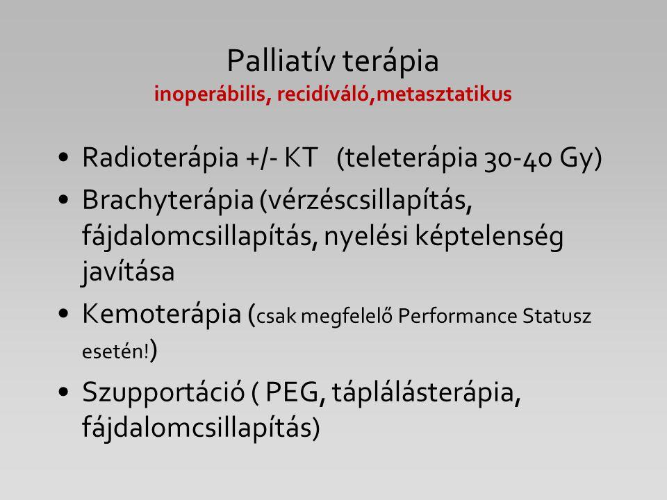 Palliatív terápia inoperábilis, recidíváló,metasztatikus Radioterápia +/- KT (teleterápia 30-40 Gy) Brachyterápia (vérzéscsillapítás, fájdalomcsillapí