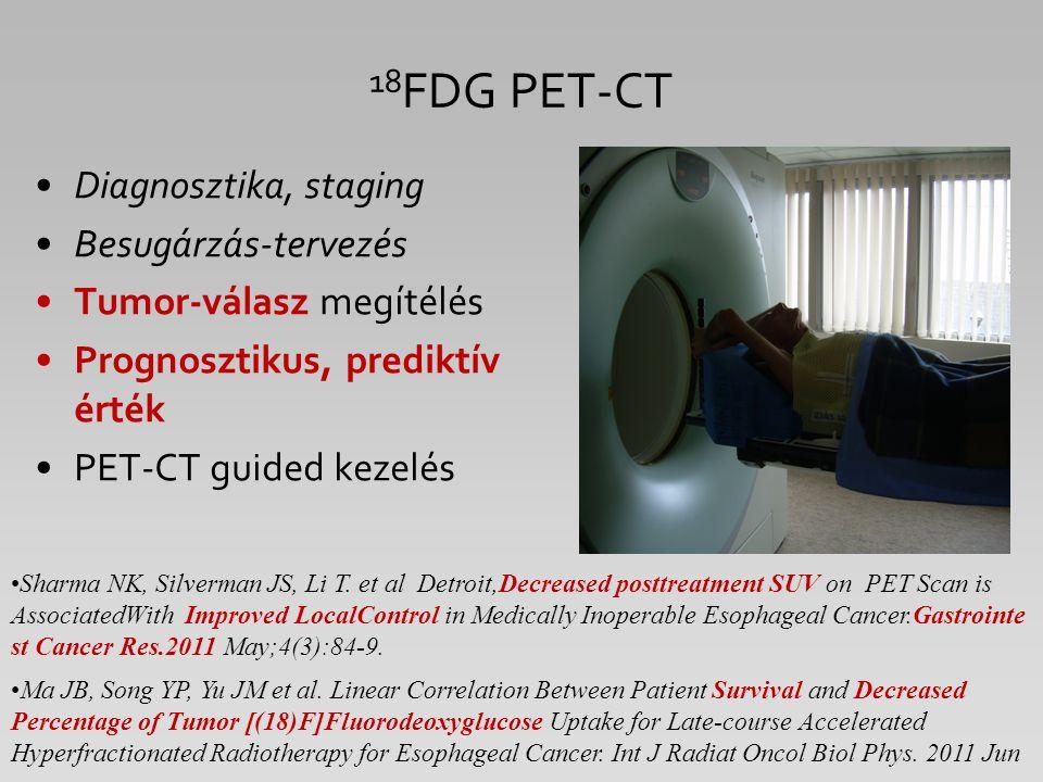 18 FDG PET-CT Diagnosztika, staging Besugárzás-tervezés Tumor-válasz megítélés Prognosztikus, prediktív érték PET-CT guided kezelés Sharma NK, Silverm