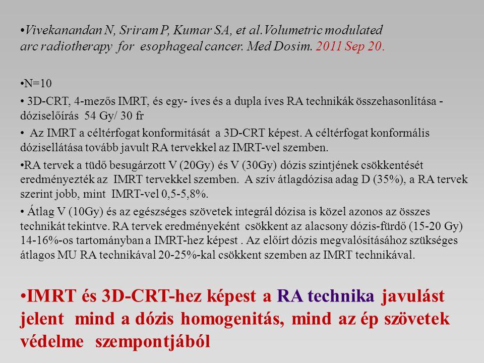 Vivekanandan N, Sriram P, Kumar SA, et al.Volumetric modulated arc radiotherapy for esophageal cancer. Med Dosim. 2011 Sep 20. N=10 3D-CRT, 4-mezős IM