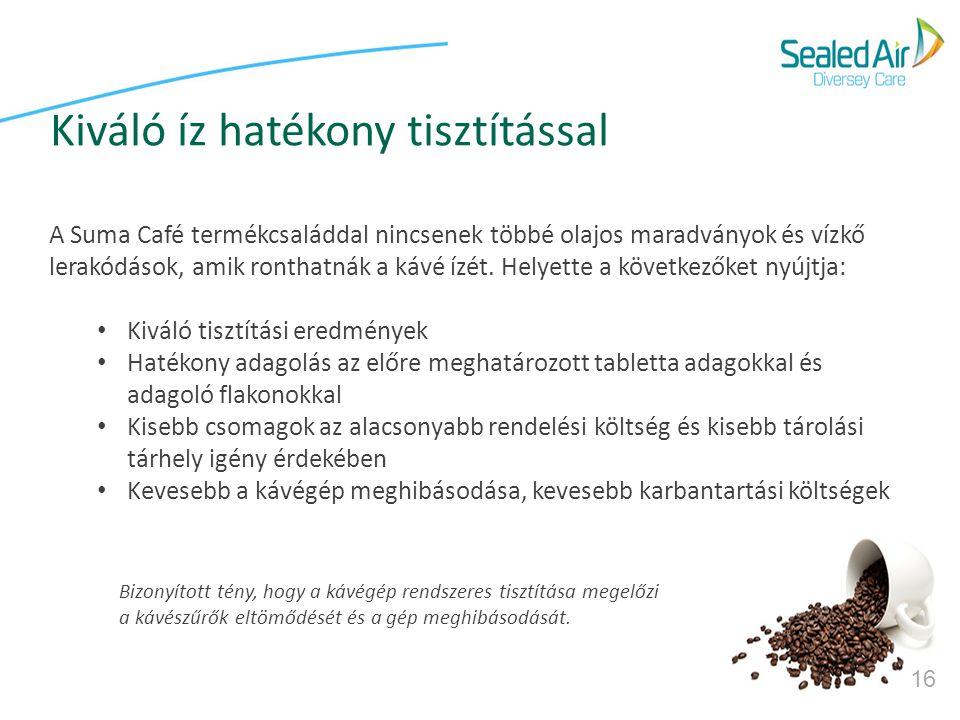16 Bizonyított tény, hogy a kávégép rendszeres tisztítása megelőzi a kávészűrők eltömődését és a gép meghibásodását. A Suma Café termékcsaláddal nincs