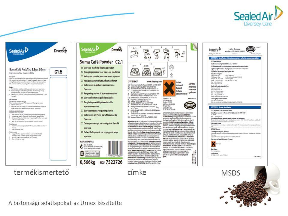 A biztonsági adatlapokat az Urnex készítette MSDS termékismertető címke